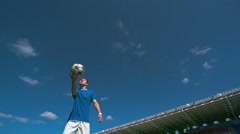 Kicking Soccer Ball in the Air Stock Footage