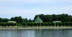 The historic architecture. Pond. Kuskovo. Stock Footage