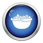 Salad in plate icon - stock illustration