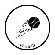 Baseball fire ball icon - stock illustration
