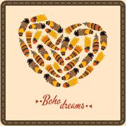 Bohemian style poster with feathers, arranged in heart - stock illustration
