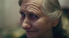 Happy grandmother face. Old woman smiling and laughing. Stock Footage