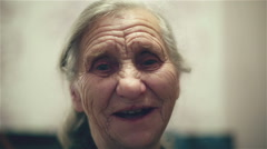 Happy grandmother. Old woman smiling and laughing. Stock Footage