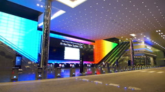 Asia Singapore Suntec City main entrance huge monitor Stock Footage