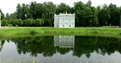 The Italian house. Pond. Park. Kuskovo. Stock Footage
