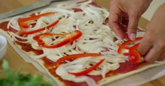 Woman make a tasty traditional homemade pizza Stock Footage