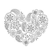 Monochrome heart shape with mehendi flowers and leafs isolated - stock illustration