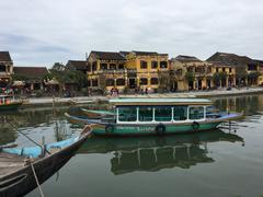 Boats at the Thu Bon river Stock Photos