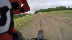 Dirt bike helmet cam pov big jump Stock Footage