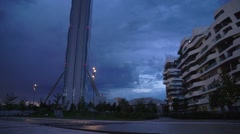 CityLife district, Milan, Italy. Allianz Tower Stock Footage