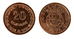Portugal old coin on a white background, isolate - stock photo