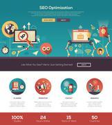 Flat design SEO optimization website header banner with webdesign elements Stock Illustration