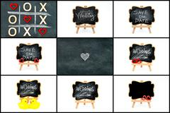Photo collage of wedding symbols - stock photo