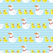 Seamless pattern with mother duck and ducklings on blue background Stock Illustration