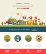 Healthy lifestyle website template with header and icons - stock illustration