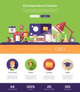 E-learning website header banner with webdesign elements Stock Illustration