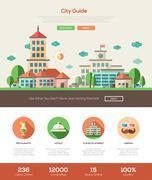 City guide website header banner with webdesign elements Stock Illustration