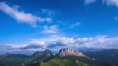 Caucasus mountain with moving clouds Stock Footage