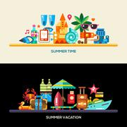 Flat design seaside travel vacation banners set Stock Illustration
