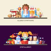 Allergy and allergens flat design website banners set Stock Illustration