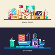 Flat design home interior banners, headers set Stock Illustration