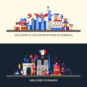 France, USA travel banners set with famous French symbols Stock Illustration