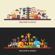 Flat design Africa, Japan travel banners set - stock illustration