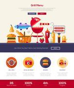 Barbeque and picnic menu website header banner with webdesign elements Stock Illustration