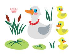 Set of mother duck with three baby ducks - stock illustration