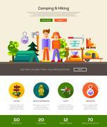 Camping, hiking website header banner with webdesign elements Stock Illustration