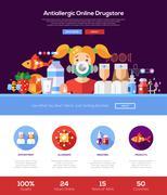 Allergy drugstore website header banner with webdesign elements Stock Illustration