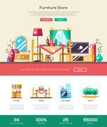 House interior store website header banner with webdesign elements - stock illustration