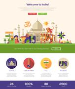 Traveling to India website header banner with webdesign elements Stock Illustration