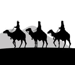 Three wise men on camels icon. Vector graphic Stock Illustration