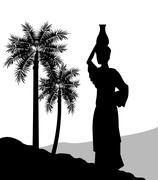 Woman with vessel icon. Desert design. Vector graphic Stock Illustration