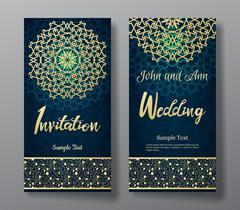 Wedding invitation card with arabic mandala background. Stock Illustration