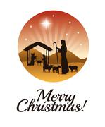 Joseph, maria and jesus icon. Merry Christmas design. Vector gra - stock illustration