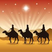 three wise men on camels icon. Vector graphic - stock illustration