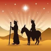 Joseph, maria and donkey icon. Merry Christmas design. Vector gr Stock Illustration