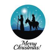 joseph, maria and donkey icon. Merry Christmas design. Vector gr - stock illustration