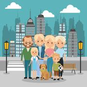 Parents, grandparents and kids icon. Family design. City Landsca - stock illustration