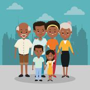 Grandparents, parents and kids icon. Family design. City Landsca - stock illustration