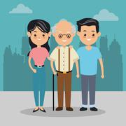 Grandfather and parents icon. Family design. City Landscape Stock Illustration