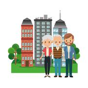 Grandparents with son icon. Family design. City Landscape - stock illustration