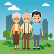 Grandparents with son icon. Family design. City Landscape Stock Illustration
