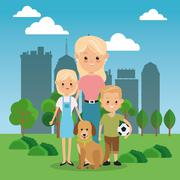 Mother with kids icon. Family design. City Landscape Stock Illustration