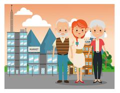Grandparents with daughter icon. Family design. City Landscape Stock Illustration