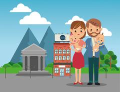 Parents with baby icon. Family design. City Landscape Stock Illustration
