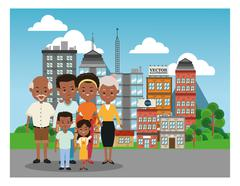 Grandparents, parents and kids icon. Family design. City Landsca Stock Illustration