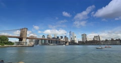 Dramatic Timelapse View of Lower Manhattan and Brooklyn Bridge Stock Footage